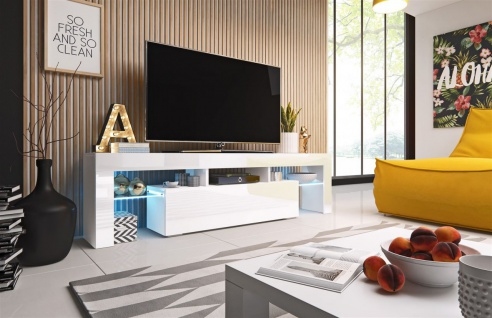 TV Board Lowboard TORIS Weiss Hochglanz 158cm