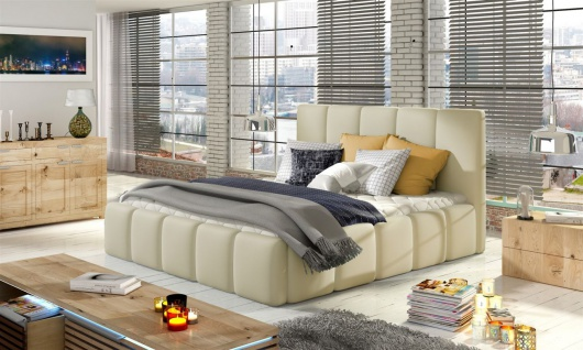 Polsterbett Doppelbett VERONA Komplettset Kunstleder Creme 120x200cm