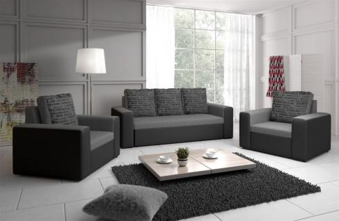 Sofa Set LEEDS 3-1-1 Sofagarnitur in Kunstleder-Webstoff Grau/Hellgrau