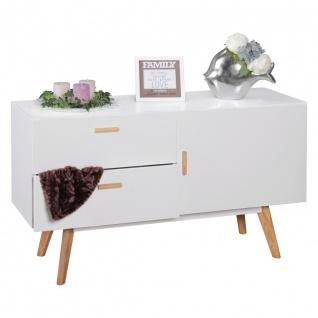 Sideboard Kommode ALVA Nr.2 -120x70 cm MDF Weiß Matt Füße Eiche massiv