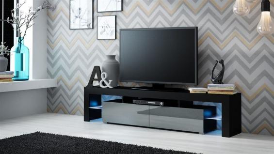 TV Board Lowboard JACK Schwarz/ Grau Hochglanz 200cm