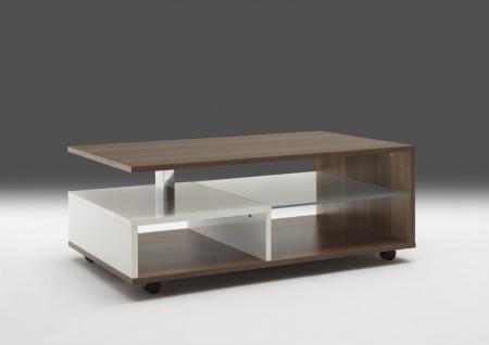 """Couchtisch Beistelltisch Wohnzimmertisch """" Luna"""" 100x60 cm Zwetschge / Weiß Glanz"""