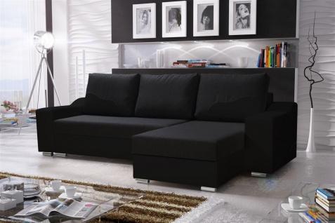 Ecksofa Sofa COLLIN mit Schlaffunktion Schwarz Ottomane Rechts