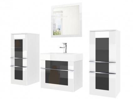 Badmöbel Set 4-tlg DAWINO Set.3 Weiss-Schwarz inkl.Waschtisch 50 cm
