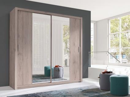 Schiebetürenschrank Schrank VISBY Sanremo matt + Spiegel 220x215 cm