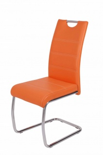 Esszimmerstühle Stuhl Freischwinger 4er Set ELENI Orange