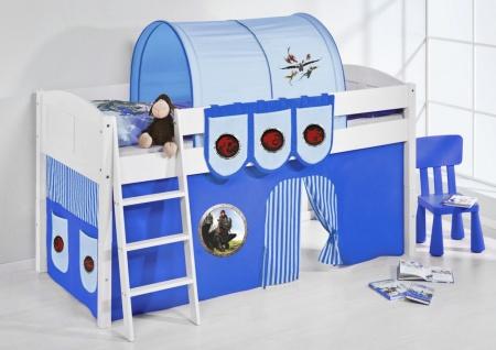 Spielbett Bett -LANDI - Dragon Blau -Teilbar -Kiefer Weis -mit Vorhang
