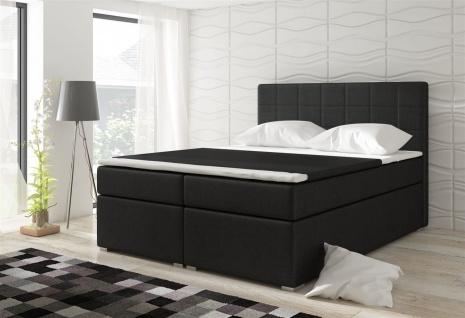 Boxspringbett Schlafzimmerbett LOREN Webstoff Schwarz 100x200cm