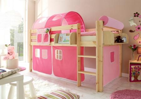 Hochbett Bett DANY Kiefer Natur inkl.Vorhang Rosa / Pink