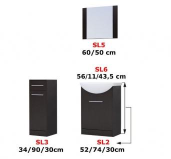 Badmöbel Set 4-Tlg Weiss / Schwarz HGL PERM Nr.3 inkl.Waschtisch - Vorschau 4