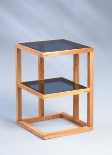 Beistelltisch Tisch SUMA 40x40 cm Walnuss massiv geölt / ESG Glas grau