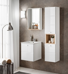 Badmöbel Set 3-tlg Badezimmerset VENTO Weiss HGL inkl.Waschtisch 40cm