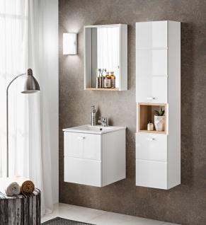 Badmöbel Set 3-tlg Badezimmerset VENTO Weiss HGL inkl.Waschtisch 50cm