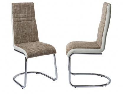 Esszimmerstühle Stühle Freischwinger 4er Set - TIGO - Webstoff Braun