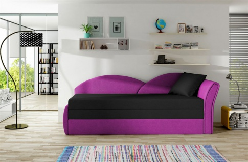 Sofa Schlafsofa inklusive Bettkasten ALINA / R- Violett / Schwarz
