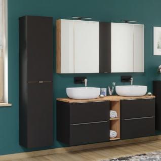 Badmöbel Set 8-tlg Badezimmerset PERUGIA Schwarz ohne Waschbecken