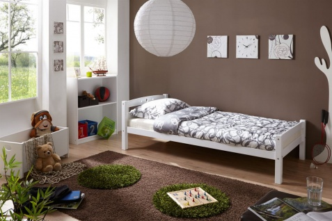 Tagesbett-Bett SALIN Buche Massiv Weiss Lackiert 90x200 cm
