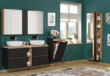 Badmöbel Set 9-tlg Badezimmerset PERUGIA Schwarz ohne Waschbecken