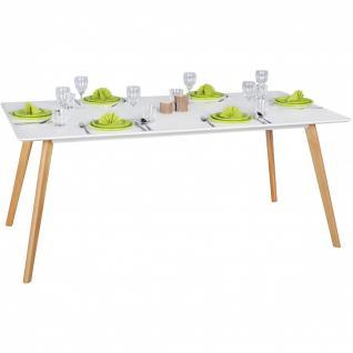 Esstisch Tisch - ELMAR - Vierfußtisch 180x90 cm MDF Weiss Matt/Eiche
