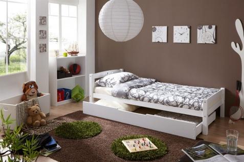 Tagesbett-Bett SALIN Buche Massiv Weiss 90x200 cm inkl.Schubkasten