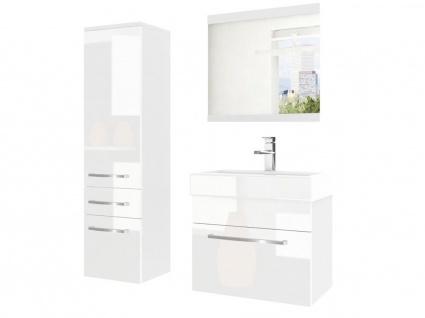 Badmöbel Set 3-tlg MARIO Set.2 Weiss HGL inkl.Waschtisch 50 cm
