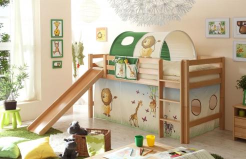 Hochbett ROBI mit Rutsche Buche Natur + Vorhang Dschungel