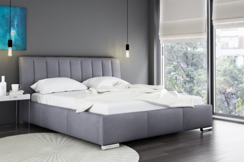 Polsterbett Bett Doppelbett MARLON Kunstleder Grau 160x200cm