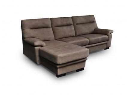 Ecksofa Sofa OPAL mit Schlaffunktion Braun Ottomane Links
