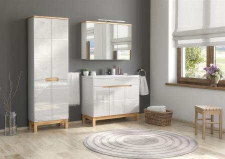 Badmöbel Set 3-tlg Badezimmerset DEVI Weiss HGL inkl.Waschtisch 100 cm