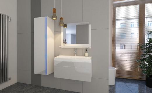 Badmöbel Set 4-Tlg Weiss HGL SKYLINE XS inkl.60 cm Waschtisch + LED