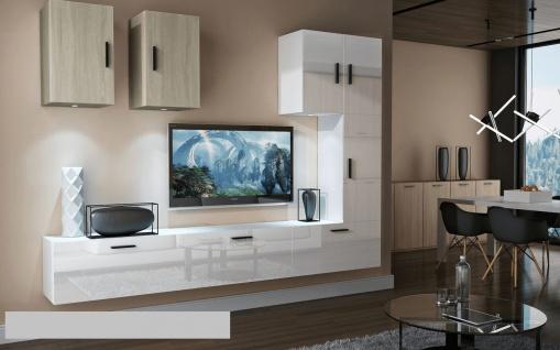 Mediawand Wohnwand 8 tlg - Bedox 4 - Weiss HGL- Sonoma matt Nr.1+LED