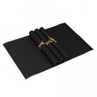 Tisch 4er Set Platzdeckchen 30 x 45 cm abwaschbar Schwarz