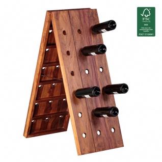 Weinregal Flaschenregal 100 cm für 36 Flaschen Massiv-Holz Sheesham