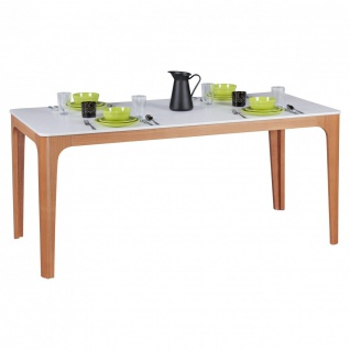 Esstisch Tisch - MAGNUS - Vierfußtisch 180x76 cm MDF Weiß lackiert