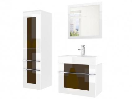 Badmöbel Set 3-tlg DAWINO Set.2 Weiss-Kastanien inkl.Waschtisch 50 cm