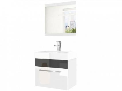 Badmöbel Set 2-tlg MARIO Set.6 Weiss-Schwarz HGL inkl.Waschtisch 50 cm