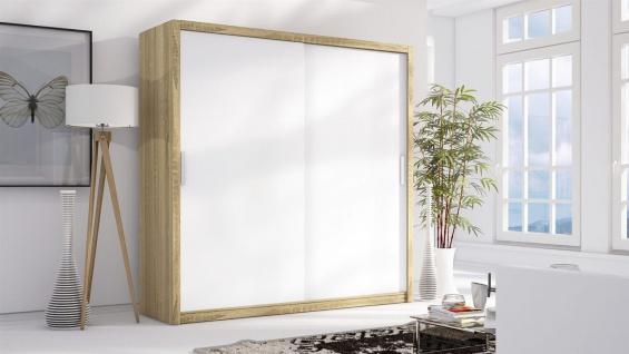 Schiebetürenschrank Schrank LUND Sonoma/ Weiss matt 200x215 cm