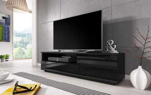 TV Board Lowboard ZUMA Schwarz Hochglanz 138cm