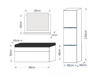 Badmöbel Set 4-Tlg Schwarz HGL DREAM XS inkl.80 cm Waschtisch und LED - Vorschau 2