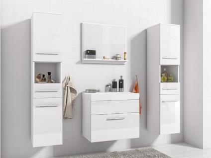 Badmöbel Set 5-Tlg Weiss Hochglanz LIVO XL inkl.Waschtisch