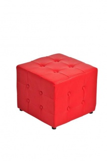 Sitzwürfel Sitzhocker - Cosimo - Hocker : Kunstleder Rot 44x44 cm
