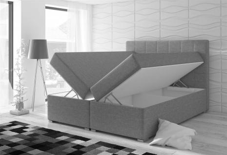 Boxspringbett Schlafzimmerbett CLAUDIA Webstoff Hellgrau 100x200cm - Vorschau 2