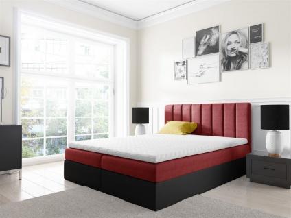 Boxspringbett Schlafzimmerbett GABRIEL 120x200cm Rot-Schwarz