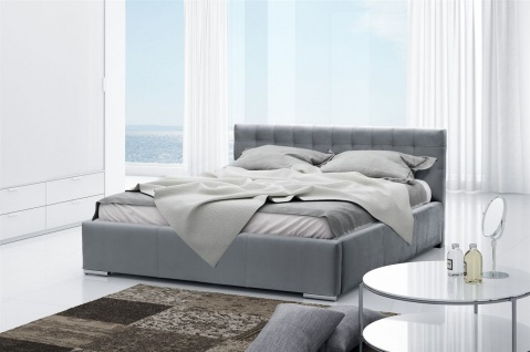 Polsterbett Bett Doppelbett DAVE Polyesterstoff Grau 140x200cm