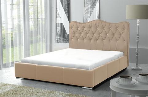 Polsterbett Bett Komplettset SULTAN Kunstleder Beige 140x200cm