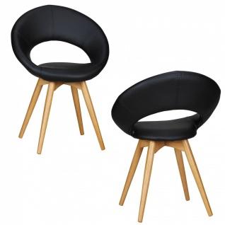 Esszimmerstühle Stühle Vierfußstuhl 2er-Set VIGO Schwarz / Rubberwood