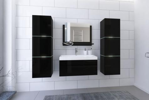 Badmöbel Set 5-Tlg Schwarz HGL LOBOS inkl.80 cm Waschtisch und LED