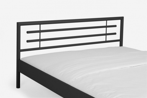 Metallbett Doppelbett Bett STEEL Nr.01 Schwarz Lackiert 140x220 cm - Vorschau 4