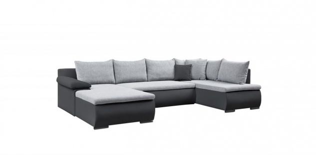 Couchgarnitur Camilla U-Form Kuntleder Schwarz / Stoff Grau