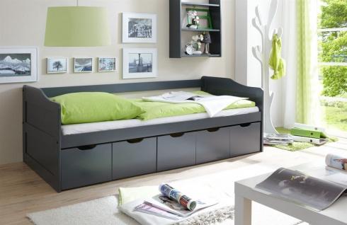 Sofabett mit Schubkästen NELY Kiefer Grau 90x200 cm